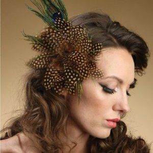 Polka Dot Fascinator  with Peacock Feathers